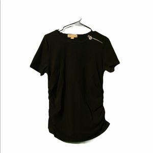 Michael Kors Short Sleeve Logo Top Ruched Sides